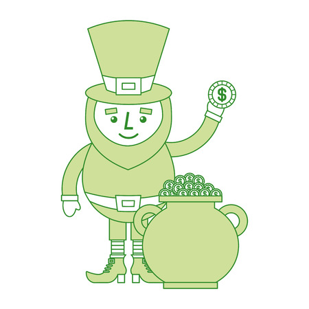 cartoon leprechaun holding gold coin and pot money st patricks vector illustration