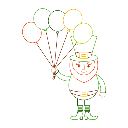 leprechaun character holding bunch of balloons celebration vector illustration line color design Ilustração