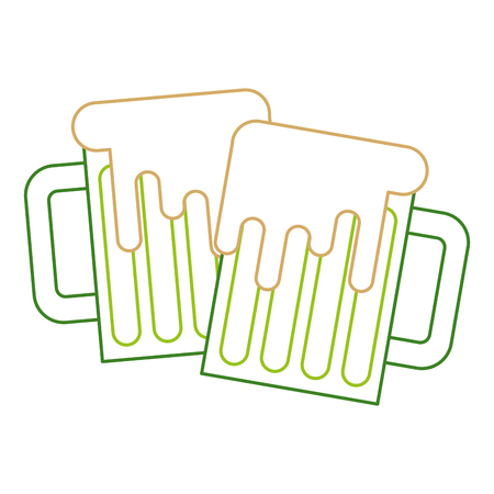 Two green beer glass foam beverage vector illustration line color design.