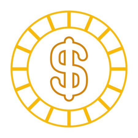 golden coin money dollar cash icon vector illustration line color design
