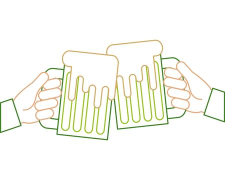 hands holding green beer mug foam vector illustration line color design