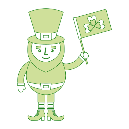 leprechaun character holding flag with clover vector illustration