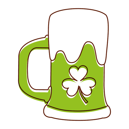 green beer glass foam and clover vector illustration