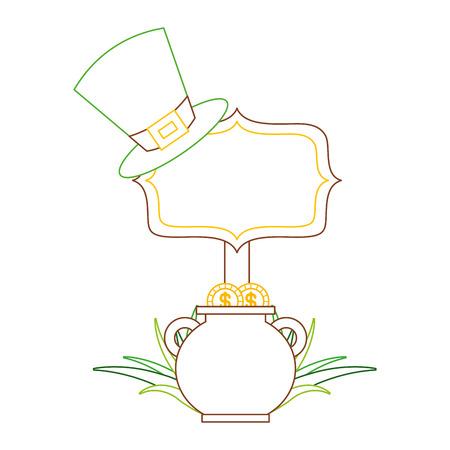 Chaudron or chapeau chapeau vert et carte de feutre vecteur de conception de couleur de tableau . Banque d'images - 95151542
