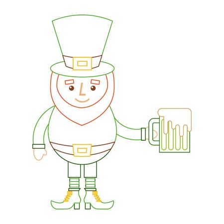 leprechaun character holding green beer vector illustration line color design