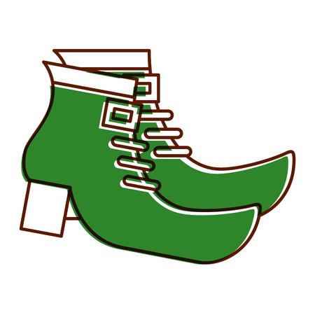 レプレショーンベクトルイラストのペアグリーンブーツシューズ  イラスト・ベクター素材