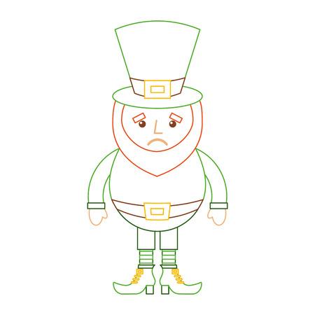 leprechaun sad cartoon st patricks day character vector illustration line color design
