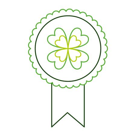 green rossette clover ornament medal vector illustration line color design  イラスト・ベクター素材