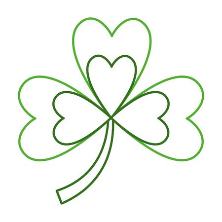 green clover three leaves luck symbol vector illustration line color design