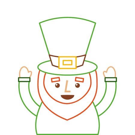 San patricio day day de un leprechaun con el pulgar hacia arriba ilustración vectorial de diseño de color de la línea Foto de archivo - 95151511