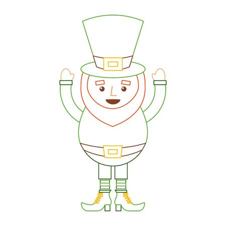 happy leprechaun cartoon st patricks day character vector illustration line color design