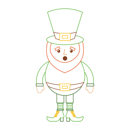 leprechaun surprise cartoon st patricks day character vector illustration line color design