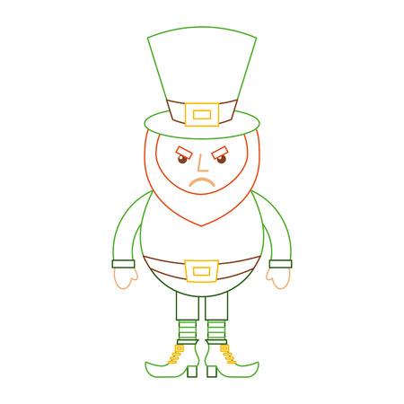 leprechaun angry cartoon st patricks day character vector illustration line color design
