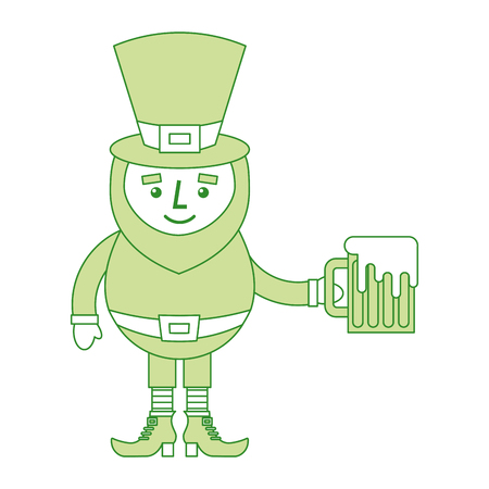 leprechaun character holding green beer vector illustration Ilustracja