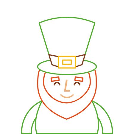 st. patricks day portrait of a smiling leprechaun vector illustration line color design