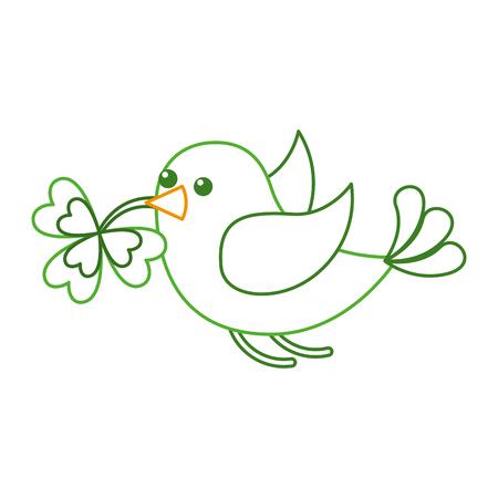 green bird flying with clover in beak vector illustration line color design