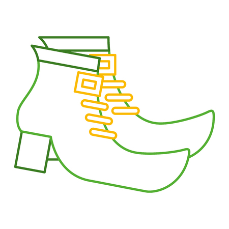 pair green boot shoes of leprechaun vector illustration line color design Illustration