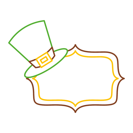 green hat and sing board empty vector illustration line color design