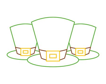 set of green hat of leprechaun accessory vector illustration line color design