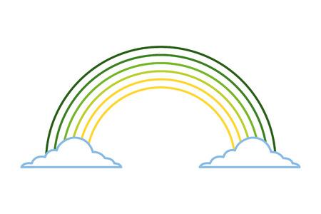 緑の虹色雲魔法ファンタジーベクトルイラストラインカラーデザイン
