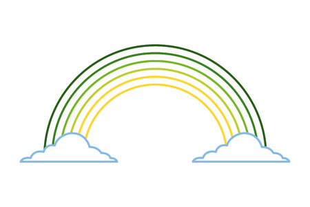 green rainbow color cloud magic fantasy vector illustration line color design