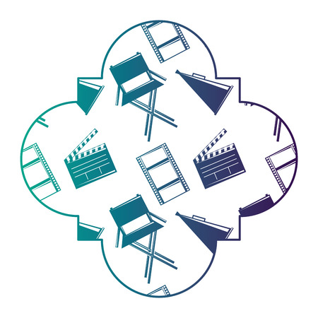 Retro stamp with film movie chair megaphone and clapperboard vector illustration degraded color design.