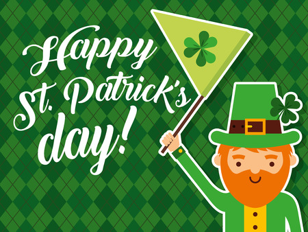 happy st patricks day leprechaun waving green flag clover Illustration