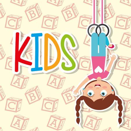 kids happy girl hanging sport rings vector illustration