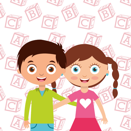 cute little kids boy and girl embrace friends with alphabet blocks background vector illustration