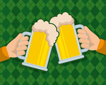 two hand holds beer glass beverage celebration Illustration