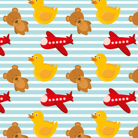 toys airplane teddy and rubber duck bakground design vector illustration