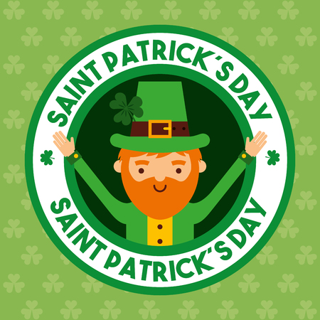st patricks day happy leprechaun open arms Illustration