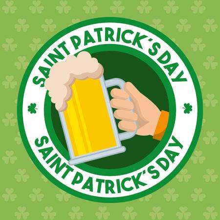 st patricks day badge hand holding cold beer Illustration