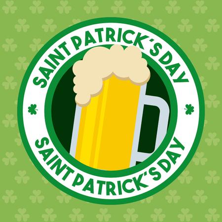 st patricks day beer glass foam cold drink banner Illustration