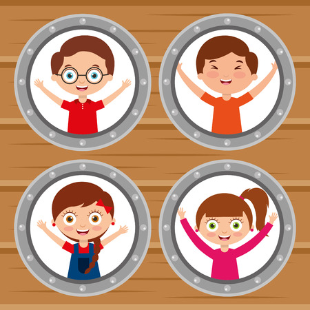group kids happy smiling round windows and wooden background vector illustration