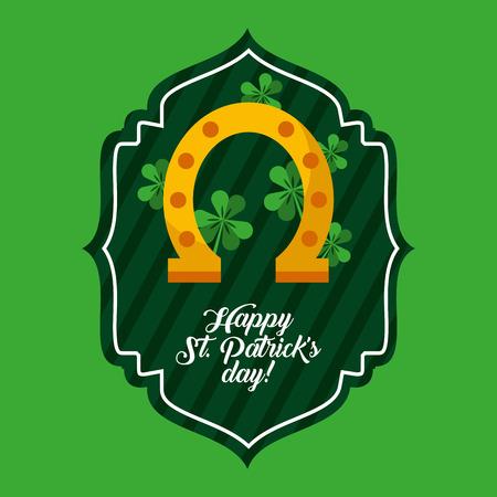 St. Patricks day green label golden horseshoe clover