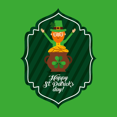 Happy St. patricks day green label leprechaun and pot coins design