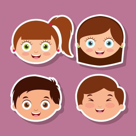 A group of litlle kids faces with smiling expression vector illustration