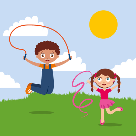 Cute happy boy and girl playing in the park vector illustration