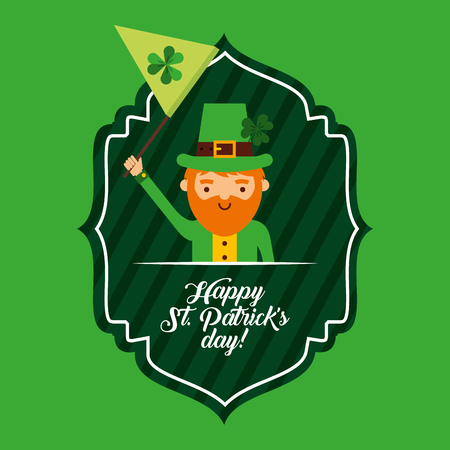 happy st patricks day green label leprechaun waving flag
