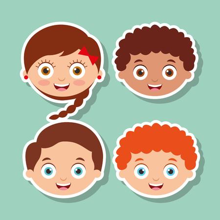 group litlle kids faces smiling expression vector illustration  イラスト・ベクター素材