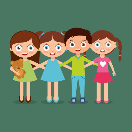 Group of happy kids vector illustration Ilustração
