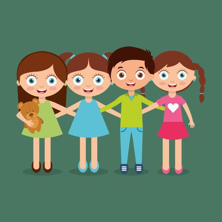 Group of happy kids vector illustration Illustration