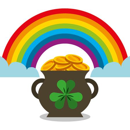 cauldron full gol coins rainbow magic vector illustration
