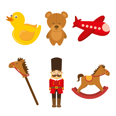 Kid's toys collection vector illustration