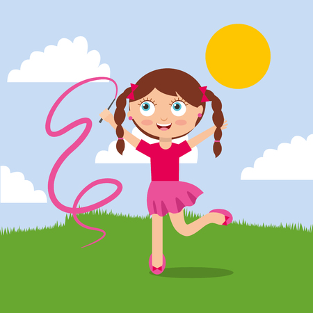 A cute little girl playing with pink ribbon in the park vector illustration