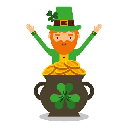 Cartoon leprechaun with pot of golden coins icon.