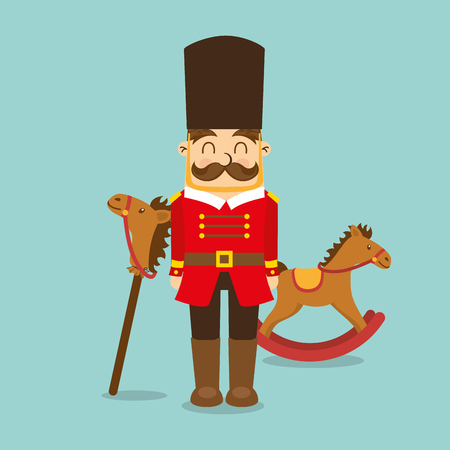 vintage toys for kids soldier horse wooden icons vector illustration