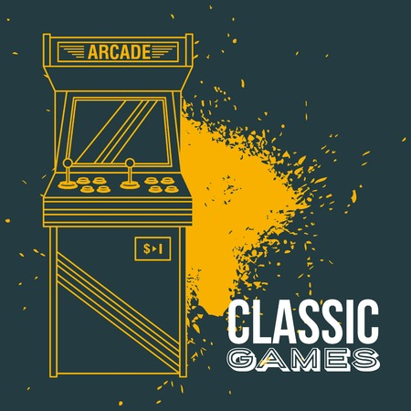 classic arcade game machine rendering vector illustration