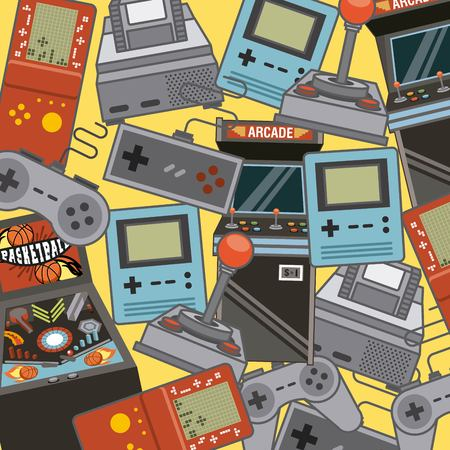 Classic videogames and console entertainment icons vector illustration Çizim